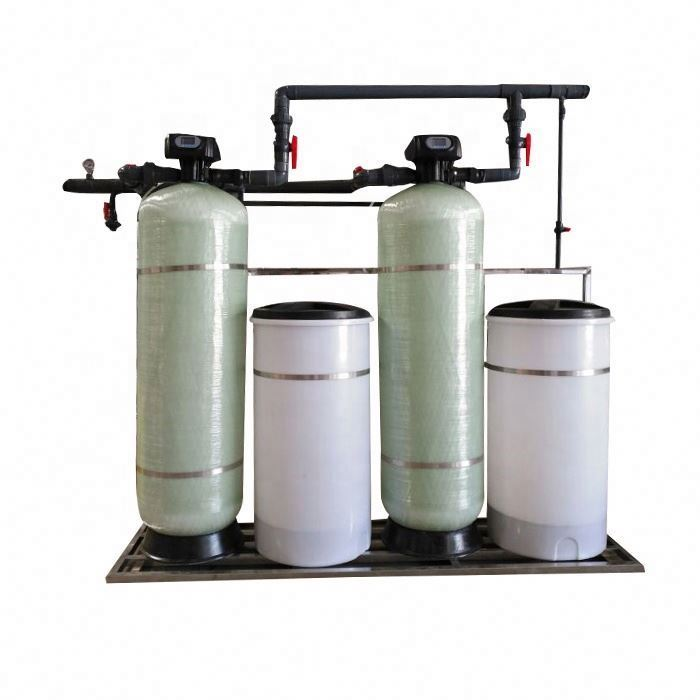 The water softener equipment is installed outside